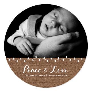 Frieden u. Liebe - Weihnachtslicht-Leinwand rund Quadratische 13,3 Cm Einladungskarte