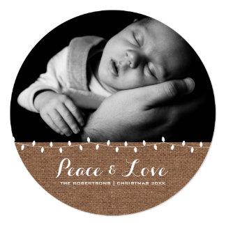 Frieden u. Liebe - Weihnachtslicht-Papierrunde Quadratische 13,3 Cm Einladungskarte