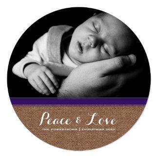 Frieden u. Liebe - Weihnachtslila Band-Leinwand Quadratische 13,3 Cm Einladungskarte