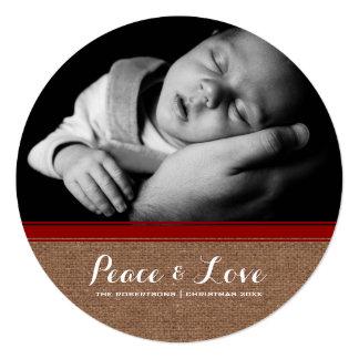 Frieden u. Liebe - Weihnachtsrote Band-Leinwand Quadratische 13,3 Cm Einladungskarte