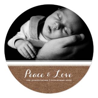 Frieden u. Liebe - Weihnachtsweiße Band-Leinwand Quadratische 13,3 Cm Einladungskarte