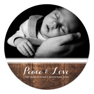 Frieden u. Liebe - Weihnachtsweißes Band-Holz rund Quadratische 13,3 Cm Einladungskarte