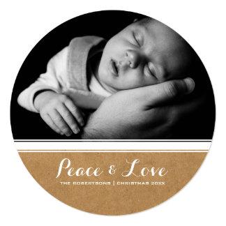 Frieden u. Liebe - Weihnachtsweißes Quadratische 13,3 Cm Einladungskarte