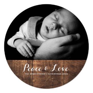 Frieden u. Liebe - Weihnachtswunsch-Foto-Holz rund Quadratische 13,3 Cm Einladungskarte