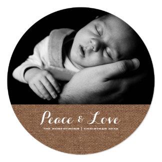 Frieden u. Liebe - Weihnachtswunsch-Foto-Leinwand Quadratische 13,3 Cm Einladungskarte