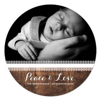 Frieden u. Liebe - Weihnachtswunsch-Spitze-Holz Quadratische 13,3 Cm Einladungskarte