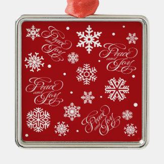 Frieden und Freude Quadratisches Silberfarbenes Ornament