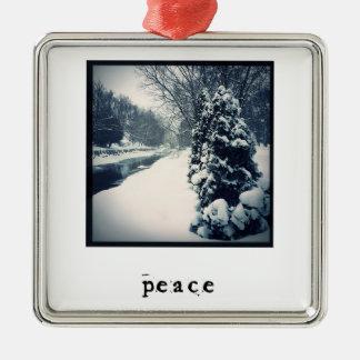 Frieden - Weihnachtsverzierung Silbernes Ornament