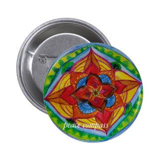 Friedenskompaßmandala-rundes Abzeichen Runder Button 5,1 Cm