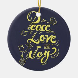 """""""FriedensLiebe-Freude-"""" Weihnachts(blau) - Rundes Keramik Ornament"""
