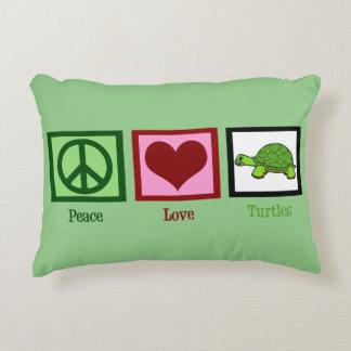 FriedensLiebe-Schildkröte-niedliches Grün Deko Kissen