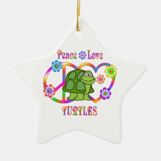 FriedensLiebe-Schildkröten Keramik Stern-Ornament
