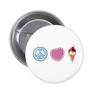 FriedensLiebe und Eiscreme Runder Button 5,7 Cm
