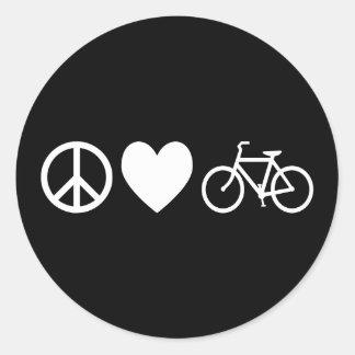 FriedensLiebe und -fahrräder Runder Aufkleber