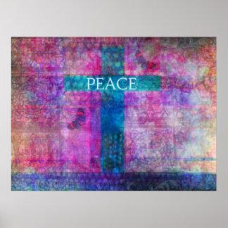 FRIEDENSquere zeitgenössische christliche Kunst Poster
