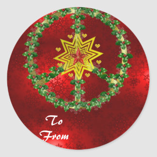 Friedensstern-Weihnachten Runder Aufkleber