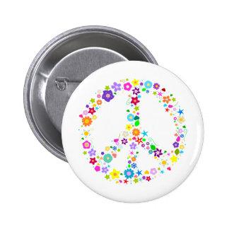 Friedenszeichen der Blumen Runder Button 5,7 Cm
