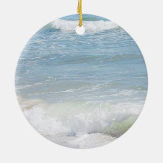 Friedliche Wellen-blaue Seestrand-Fotografie Rundes Keramik Ornament