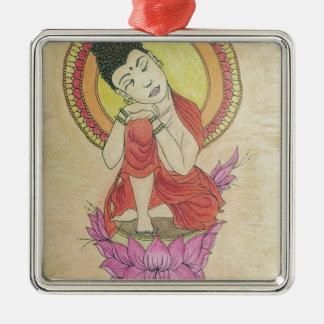 Friedlicher Buddha Silbernes Ornament