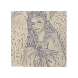 Friedlicher Engel im düsteren Blau Holzleinwand