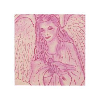 Friedlicher Engel im Rosa Holzleinwand