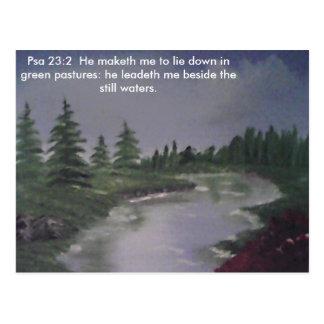 Friedlicher Fluss Ps. 23:2 Postkarte