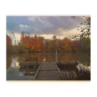 Friedlicher Herbst-Tag durch die Küstenlinie Holzleinwände