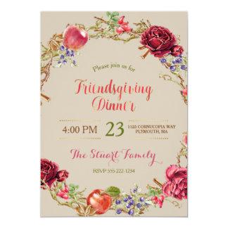 Friendsgiving Abendessen-Fall-Apfel-Zimt-Rosen Karte