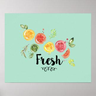 Frisch - Zitrusfrüchte im Aquarell Poster