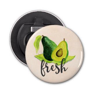 Frische grüne Avocado-Stillleben-Frucht im Flaschenöffner