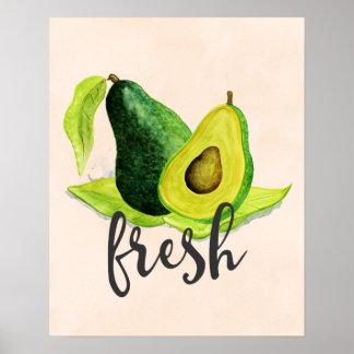Frische grüne Avocado-Stillleben-Frucht im Poster