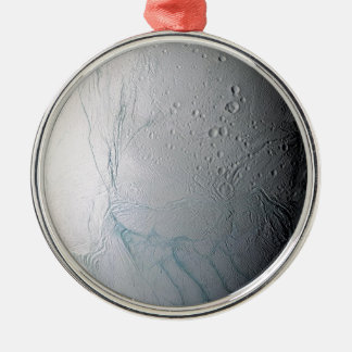 Frische Tiger-Streifen auf Enceladus Rundes Silberfarbenes Ornament