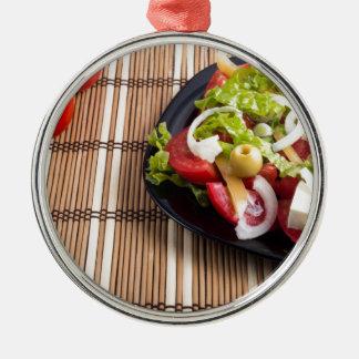 Frischer natürlicher Salat der Nahaufnahmeansicht Silbernes Ornament