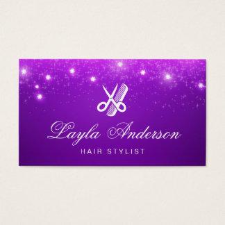Friseur - lila Stern-Glitter-Schönheits-Salon Visitenkarten