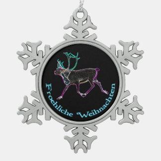 Froehliche Weihnachten - elektrisches Karibu Schneeflocken Zinn-Ornament
