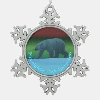 Froehliche Weihnachten - Polarlicht-Eisbär Schneeflocken Zinn-Ornament