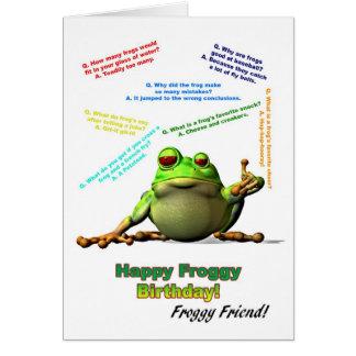 Froggyfreund-Geburtstagskarte mit Froggywitzen Karte