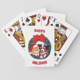 Frohe Feiertage Haustiere Spielkarten