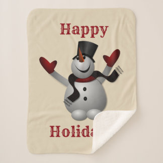 Frohe Feiertage Schneemann Sherpadecke