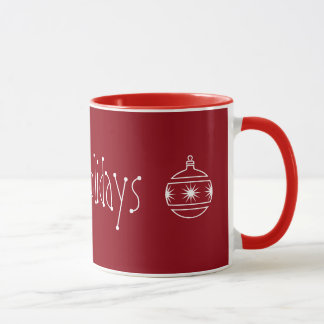 Frohe Feiertage Verzierungs-Rot Tasse