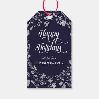 Frohe Feiertage weiße Kranzgeschenkumbauten Geschenkanhänger