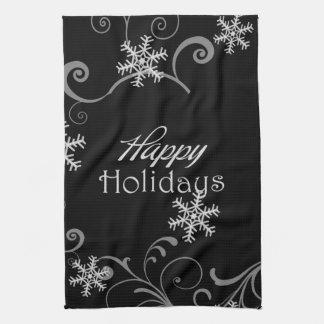 Frohe Feiertage weiße Schneeflocken auf Schwarzem Handtücher