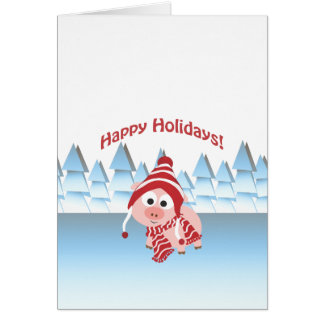 Frohe Feiertage Winter-Schwein Karte