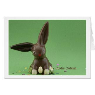 Frohe Ostern Karte mit Schokoladenhase