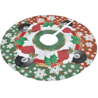 Frohe Weihnacht-Billard-Liebhaber Polyester Weihnachtsbaumdecke