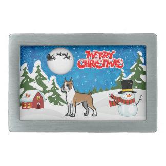 Frohe Weihnacht-Boxer mit einem Schneemann und Rechteckige Gürtelschnallen