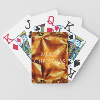 Frohe Weihnacht-Brown-Goldkupfer-eleganter Stern Bicycle Spielkarten