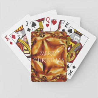 Frohe Weihnacht-Brown-Goldkupfer-eleganter Stern Spielkarten