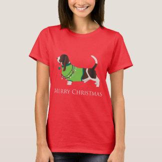Frohe Weihnacht-Entwurf Basset Hounds T-Shirt