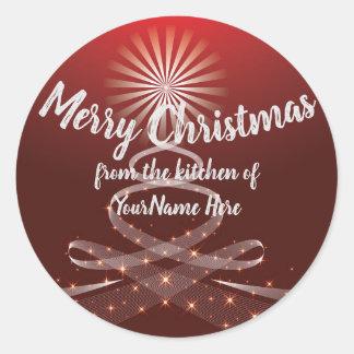 Frohe Weihnacht-Feiertag backte Waren-roten Runder Aufkleber